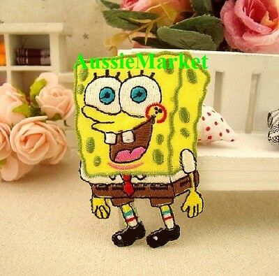 1 x spongebob patch patches girls boys jeans iron sew on cartoon child kids tv