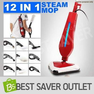 12 in 1 Foldable Floor Carpet Steam Mop Handheld Steamer Cleaning Cleaner 1300W