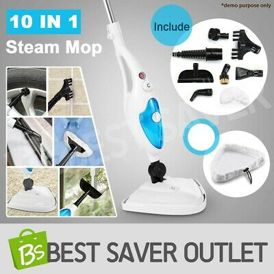 1300W 10in1 Steam Mop Floor Carpet Cleaning Cleaner Steamer Handheld Lightweight