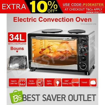 Electric Convection Oven Toaster Grill Benchtop w/ 2 Hot Plates & Rotisserie 34L