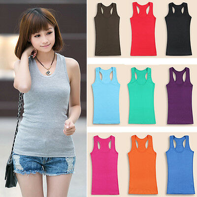 Women Ladies Solid Color Sleeveless Slim Tank Vest Y-back Bottoming Tops Blouses