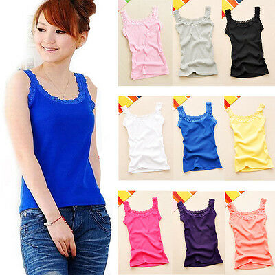 Elegant Women Solid Color Lace Neck Strap Slim Fit Cotton Tank Blouses Vest Tops