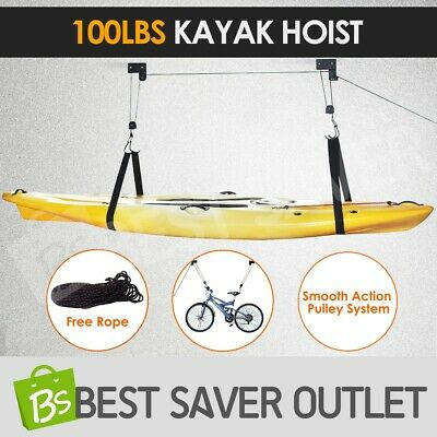 Kayak Hoist Bike Lift Ceiling Storage Rack Pulley System Garage & Rope