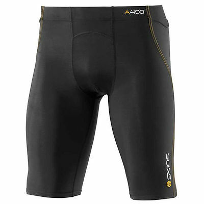 Skins A400 Mens Compression Half Tights Black With Yellow Stiching Rrp$99.99 Xxs