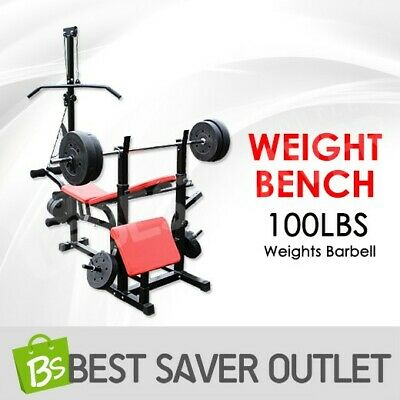 Multi Station Fitness Weight Bench Press Incline Barbell Squat Rack Fitness Gym