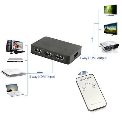 NEW HDMI Port 3D 1080P 3-In-1 3x1 Out Switch HUB Splitter with IR Remote Control