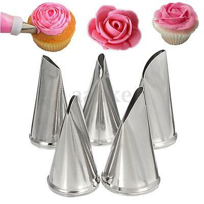 5 Style Flower Petal Icing Piping Nozzles Fondant Pastry Tips Cake Decorating
