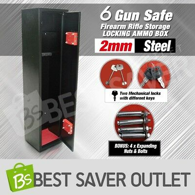 6 Gun Safe Firearm Rifle Storage Security Lockbox Steel Cabinet 2mm Steel New