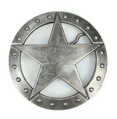 Vintage Silver Alloy Texas Sheriff Star Badge Western Belt Buckle FREE GIFT BOX
