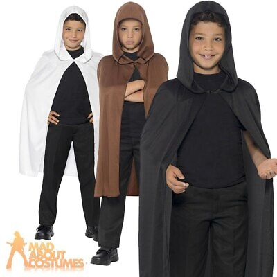 Hooded Cape Child Black White Brown Boys Girls Halloween Fancy Dress Outfit New