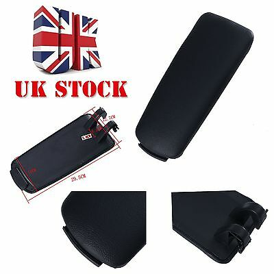 Black PU Leather Center Console Armrest Cover Lid For Audi A4 B7 04-07
