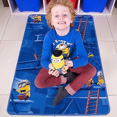 Fun Kids Blue Despicable Me Minions Size Kids Bedroom Floor Rug Mat 80cm x 120cm