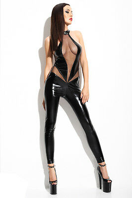 Dessous Lingerie Schwarzes Catsuit mit T-String Wetlook Tüll Gr.S-XL* 872796 HOT • EUR 54,95