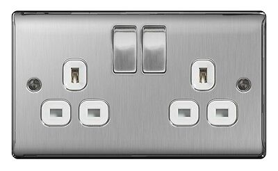 Nexus Brushed Steel Switched Socket 13a White Inset 2 Gang