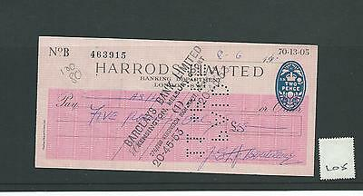 wbc. - CHEQUE - CH105 - USED -1960s - HARRODS LIMITED, LONDON