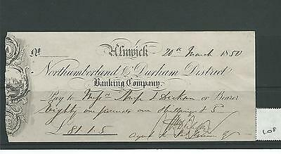 wbc. - CHEQUE - CH108 - USED -1850s - NORTHUMBERLAND & DURHAM DIST.BANK, ALNWICK