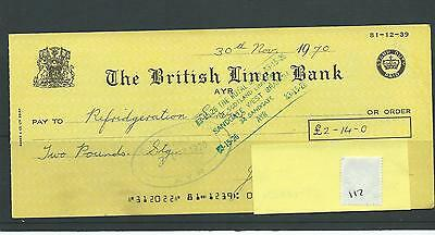 wbc. - CHEQUE - CH117 - USED -1970s - BRITISH LINEN BANK, AYR - company