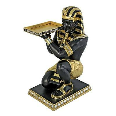 Egyptian Pharaoh's Kneeling Nubian Servant with tray: Butler Side Table Statue