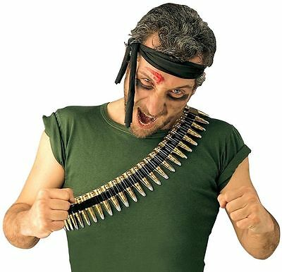 New Bullet Belt for Soldier Rambo Army Fancy Dress Accessory