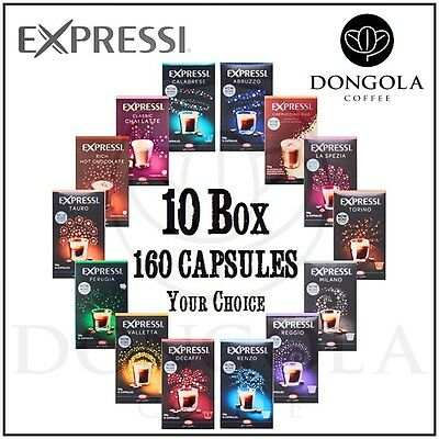 10 BOX (160) You Choose Expressi Automatic Coffee Machine Capsules Pods ALDI