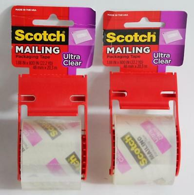 "Lot of 2 - 3M Scotch 1.88"" x 800"" Ultra Clear Shipping Tape"