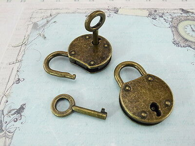 (Lot of 2)  Old Vintage Style Mini Small Padlocks With Keys Reproduction - NEW