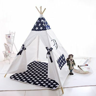 Large Cotton Canvas Kids Boys Girls Star Square Teepee Outdoor Tent