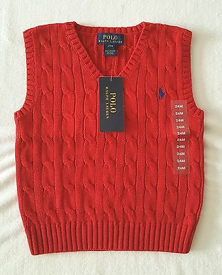 Brand New With Tag Polo Ralph Lauren Baby Boys Cable Knit Sweater Cotton Vest