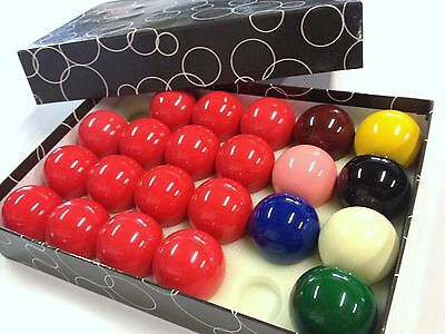 """PROFESSIONAL SNOOKER TABLE BALLS 2 & 1/16"""" inch 15 red Full Resin Quality Set"""