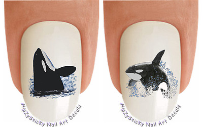 """Nail Art #226 ANIMAL """"Whales Orca Sea Life"""" WaterSlide Nail Decals Transfers"""