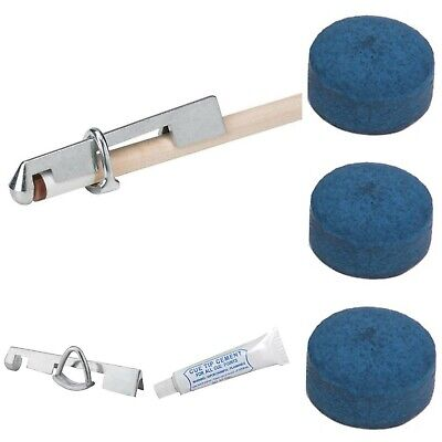 Cue Snooker Billiard Cue Tipping Kit do it yourself    *GLUE* *CLAMP* *TIPS*