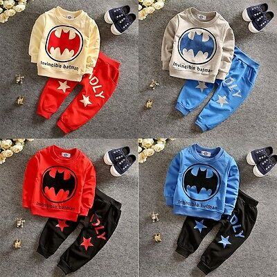 Batman Baby Boys Kids Tops Pullover+Jogging Pants Sportswear Tracksuits Outfits