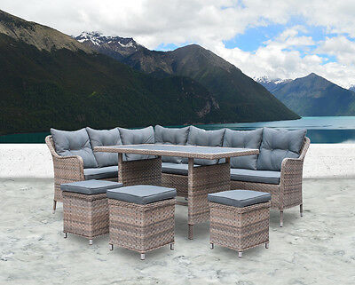 New Wicker Rattan Garden Set Outdoor Corner Dining Sofa Lounge Setting Furniture