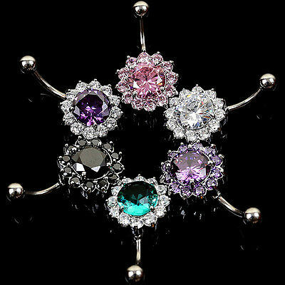 Crystal Navel Flower Steel Zircon Belly Ring Button Bar Body Piercing Jewelry CH