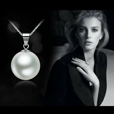 Fashion Genuine white Freshwater Pearl Pendant Necklace Silver Chain Jewelry CHI
