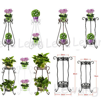 2 Tier Metal Lacy Garden Plant Display Stand Indoor Outdoor Flower Patio Rack UK