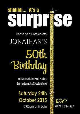 PERSONALISED SURPRISE SILVER or GOLD I PARTY INVITES shh invitations