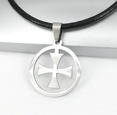 Silver Crusader Knights Shield Templar Cross Pendant 3mm Black Leather Necklace