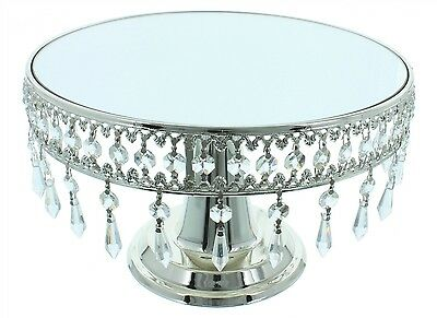 Mirrored Cake Stand With Removable Hanging Crystals