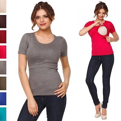 Happy Mama. Women's Maternity Nursing Double Layer T-shirt Round Neckline. 991p