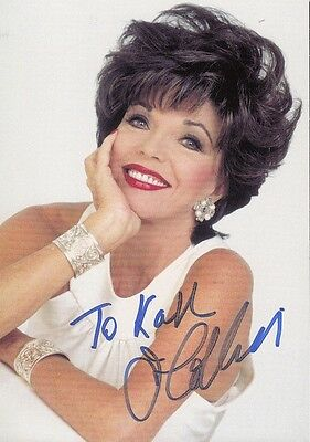 "JOAN COLLINS - Original 6"" x 4"" Colour Photocard PERSONALLY SIGNED to 'KARL'"