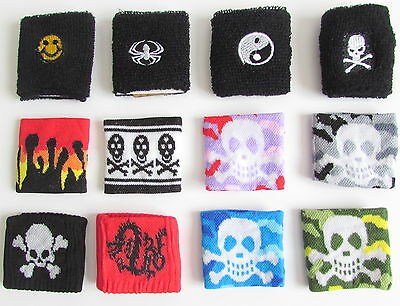 Boys girl sweatbands wristbands pirate skulls Ying dragon spider smiley new