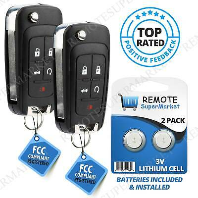 Replacement for Chevy 2010-16 Camaro Cruze Equinox Malibu Remote Key Fob 5b Pair