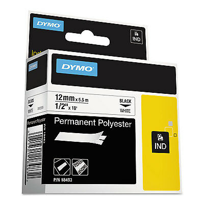 "DYMO Rhino Permanent Poly Industrial Label Tape 1/2"" x 18 ft White/Black Print"
