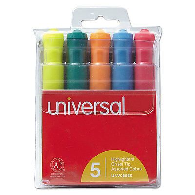 Universal Desk Highlighter Chisel Tip Fluorescent Colors 5/Set 08860