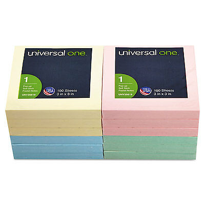 UNIVERSAL Fan-Folded Pop-Up Notes 3 x 3 4 Assorted Pastel Colors 100-Sheet 12