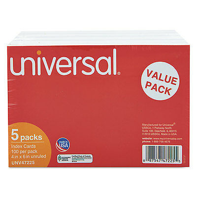 Universal Unruled Index Cards 4 x 6 White 500/Pack 47225