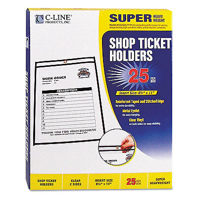 "C-Line Shop Ticket Holders Stitched Both Sides Clear 50"" 8 1/2 x 11 25/BX 46911"
