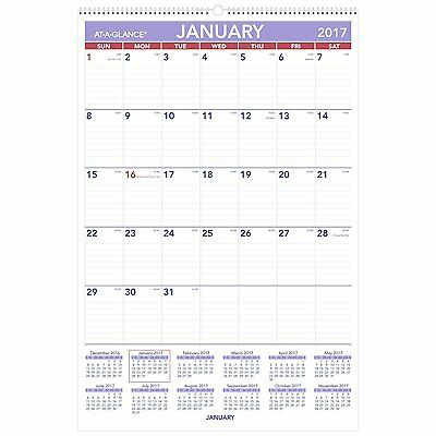 At-A-Glance Monthly Wall Calendar with Ruled Daily Blocks 20 x 30 White 2017