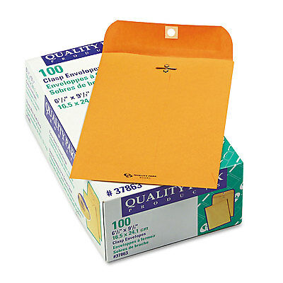 Quality Park Clasp Envelope 6 1/2 x 9 1/2 28lb Brown Kraft 100/Box 37863